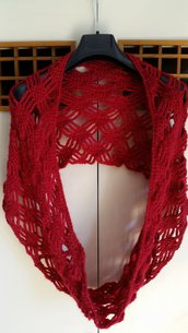 sciarpa scalda collo rossa a punto ragno