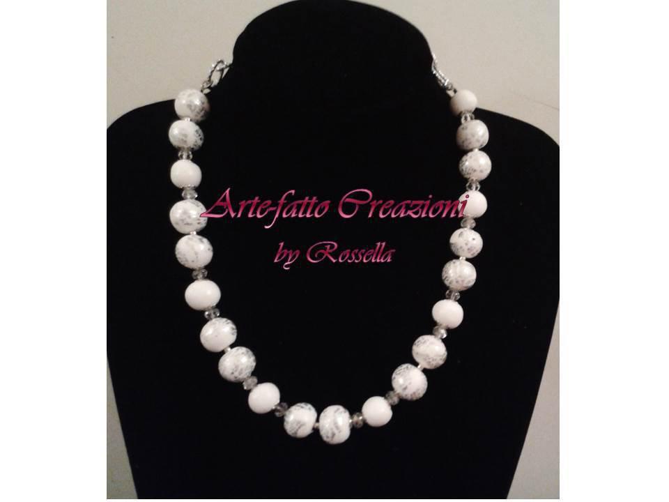 Collana bianco argento