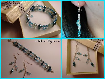 Bracciale e orecchini con perle e cristalli bicono