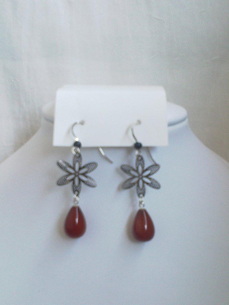 Orecchini argento 925 agata rossa