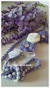 Collana perle e rose bianca e glicine