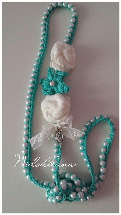 Collana perle e rose color Tiffany