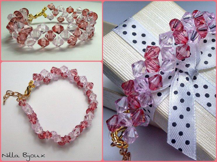 Bracciale con cristalli bicono rosa