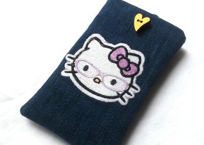 custodia cellulare in jeans blu scuro  con gattina ricamata