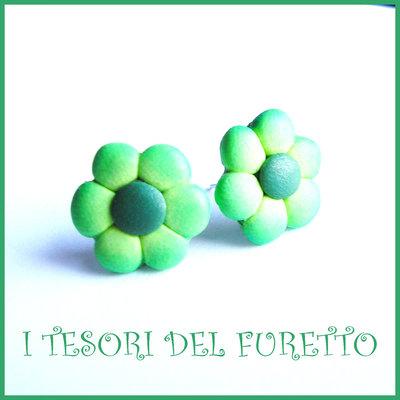 """Orecchini Perno """"Margherite Verde"""" fiore kawaii fimo cernit idea regalo donna bambina Estate estivi NATALE 2015"""