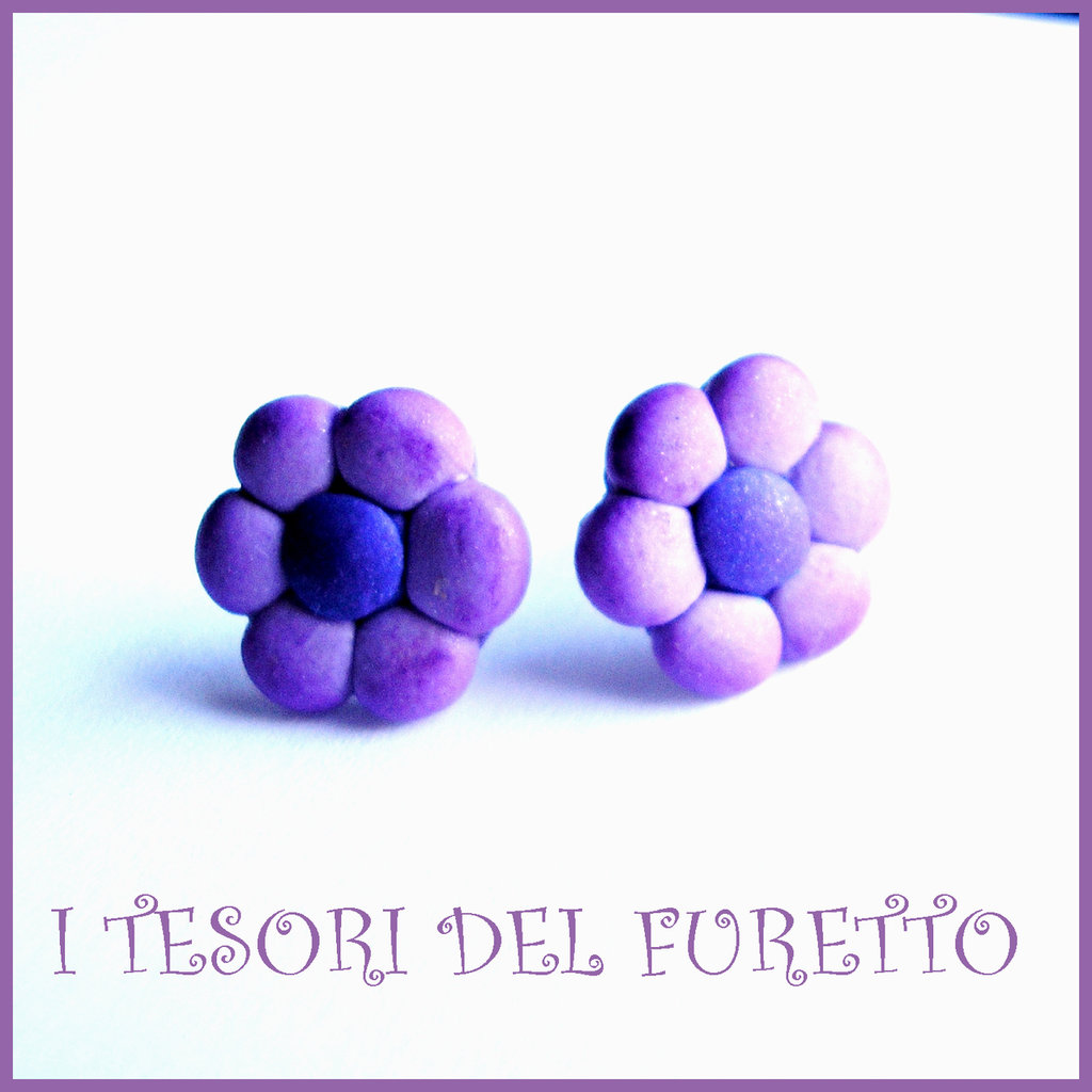"""Orecchini Perno """"Margherite VIola LIlla"""" fiore kawaii fimo cernit idea regalo donna bambina Estate estivi NATALE 2015"""