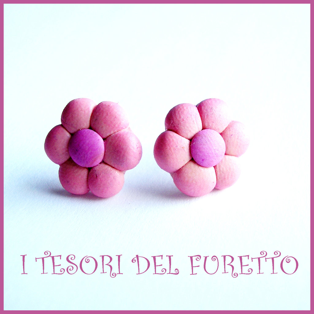 """Orecchini Perno """"Margherite ROSA"""" fiore kawaii fimo cernit idea regalo donna bambina Estate estivi NATALE 2015"""