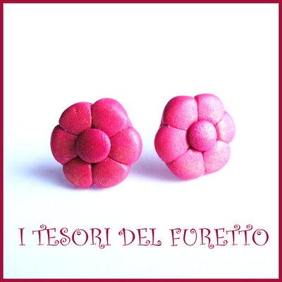 """Orecchini Perno """"Margherite ROSSO"""" fiore kawaii fimo cernit idea regalo donna bambina Estate estivi NATALE 2015"""