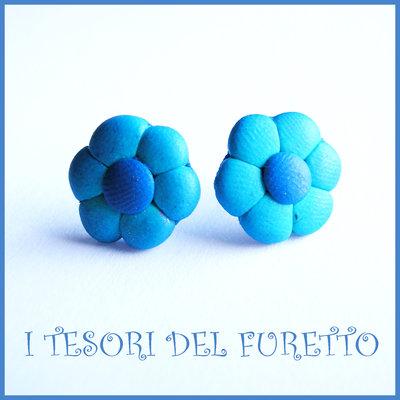 """Orecchini Perno """"Margherite Blu azzurro"""" fiore kawaii fimo cernit idea regalo donna bambina Estate estivi NATALE 2015"""