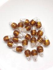 PERLA GOCCIA: set di 20 perle a forma di goccia. Bicolor topazio-argento. HANDMADE