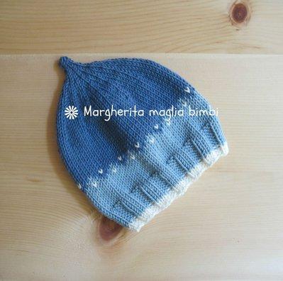 Berretto a punta per bambino/neonato in cotone e lana fatto a mano