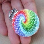 Clip porta CIUCCIO neonati baby legno naturale con vortice arcobaleno