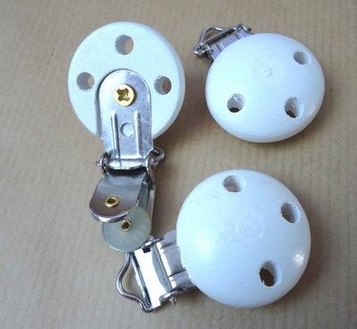 Clip porta CIUCCIO neonati baby legno color bianco con 3 fori