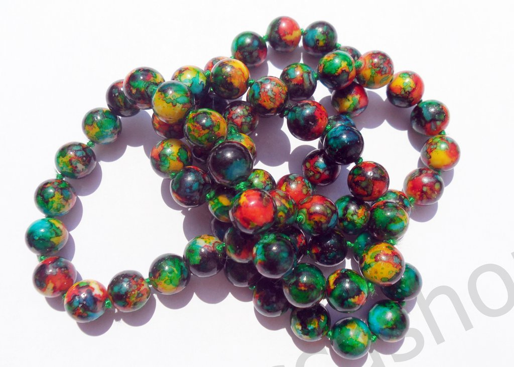Perlina perla in ceramica multicolor 12mm lotto 10 pz