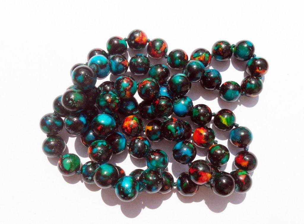 Perlina perla in ceramica Turchese nero 12mm lotto 10 pz