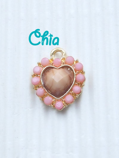 1 charm cuore strass rosa