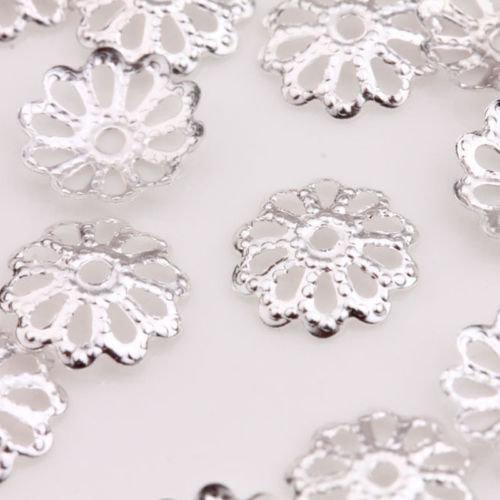 Coppette copriperla fiore 8mm argento chiaro 80 pz