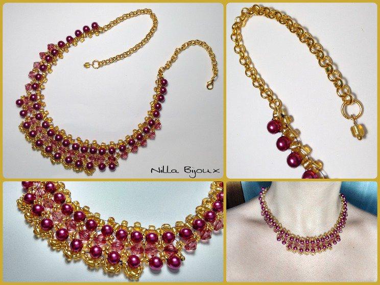 Collana con perle e perline rocailles oro/amaranto