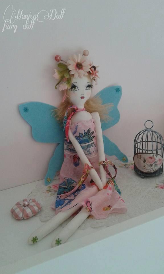 Fatina azzurra,bambola di stoffa