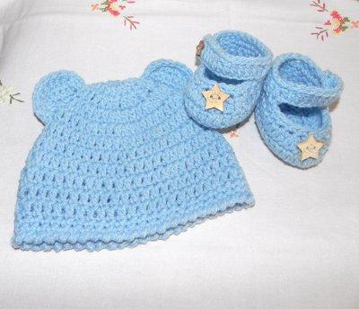 Scarpette e cappellino bebè in  lana in azzurro NEONATO