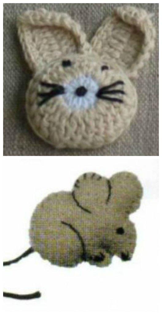 Applicazione Coniglietto Crochet e Topolino Feltro