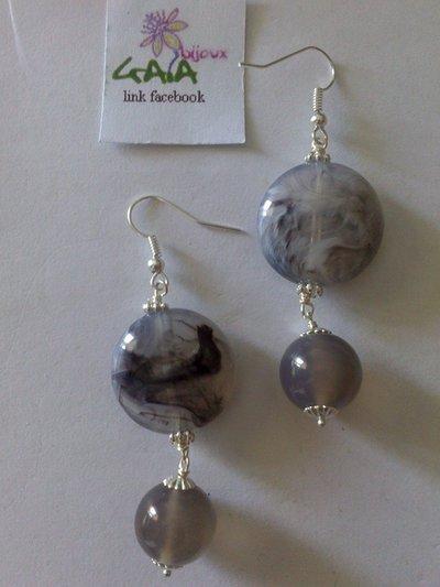 Orecchini grigi in resina jelly ed agata
