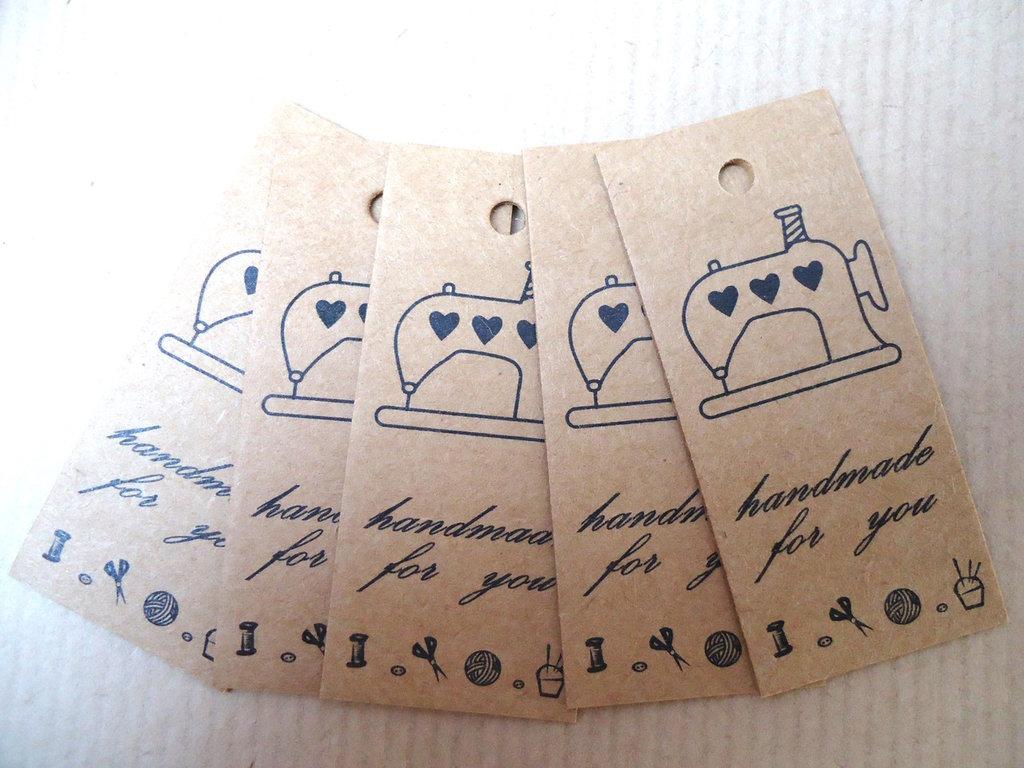 10 pz CARTELLINI CARTONCINO Handmade for you - macchina da cucire