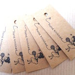 10 pz CARTELLINI CARTONCINO Hand Knittend - lana