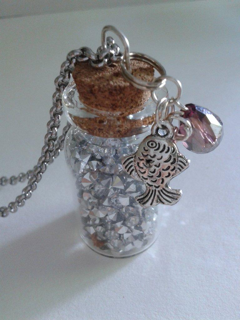 Pozioni magiche - collana con boccetta argento