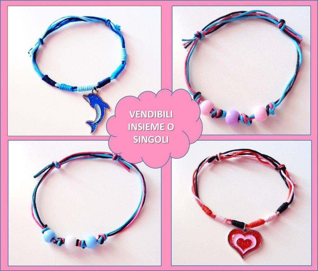Fantasia braccialetti di filo, perline e ciondoli