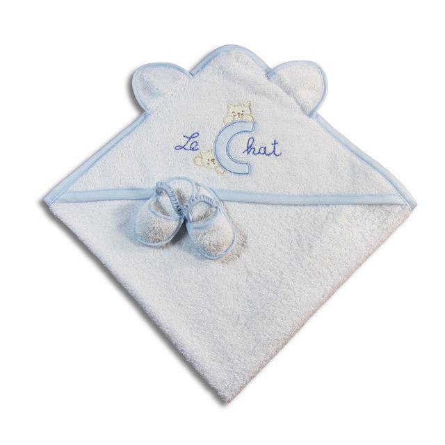 Accappatoio triangolo gattino azzurro per neonato