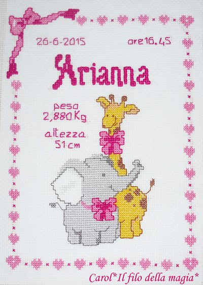 Quadretto nascita fiocco nascita giraffa lei punto for Quadretto nascita punto croce