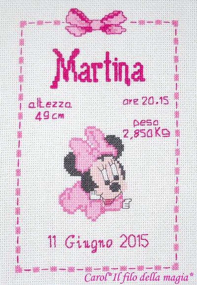 Quadretto nascita - fiocco nascita - BABY MINNIE PICCOLINA -punto croce- B51