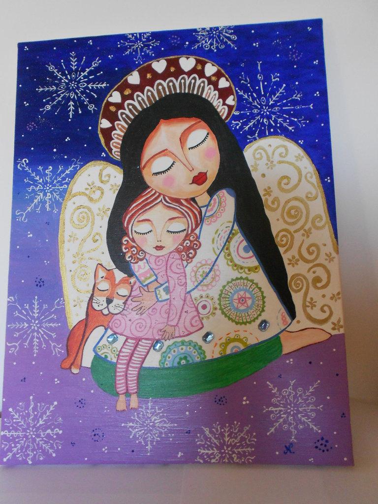 Quadro folk bimba con angelo
