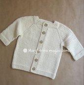 Cardigan bambino/neonato in puro cotone color panna con bottoni in cocco
