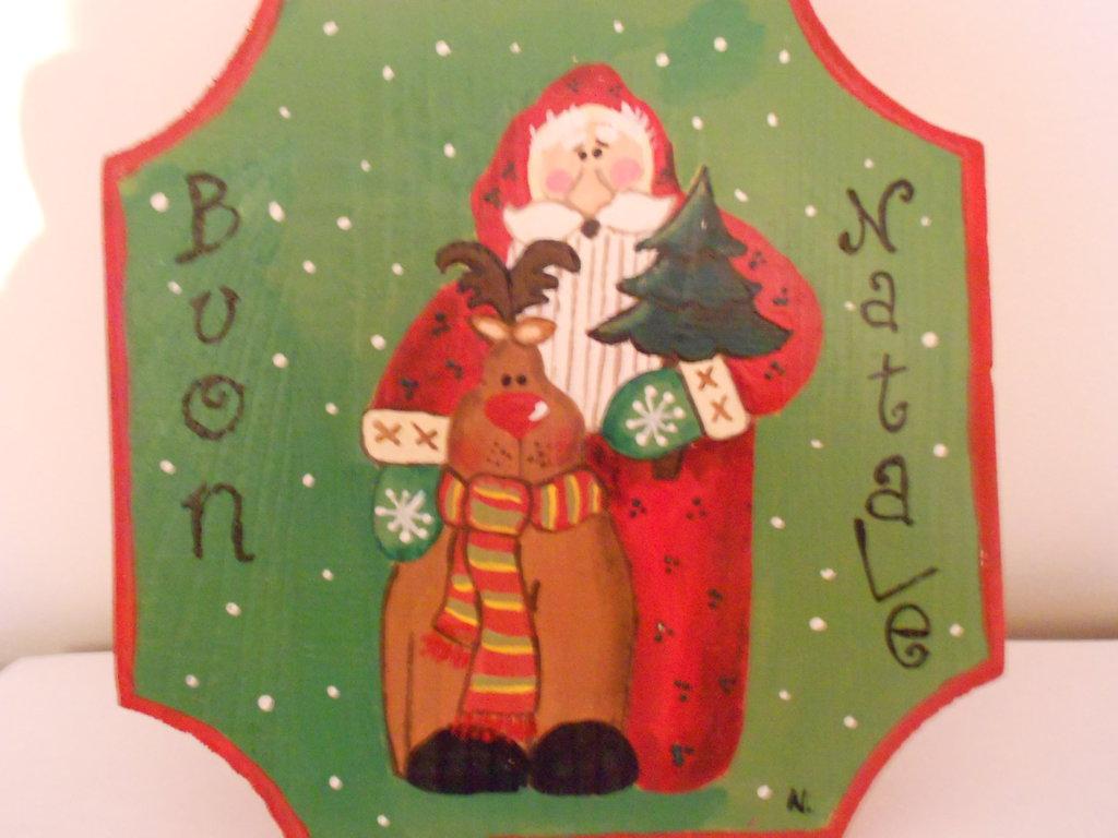 Targhetta Babbo Natale e renna