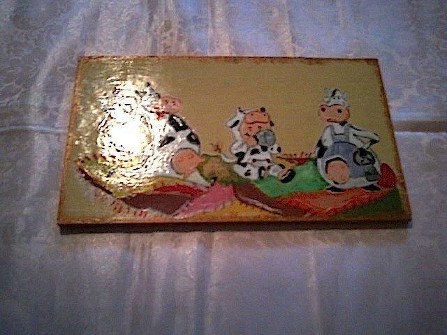 Quadro dipinto a mano con mucche