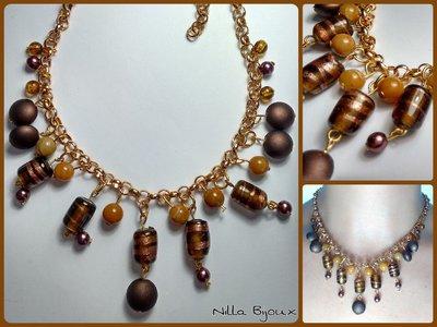 Colla corta con catena dorata e pendenti color bronzo e caramello