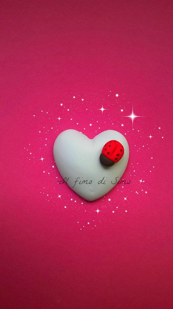 bomboniera cuore con coccinella in fimo