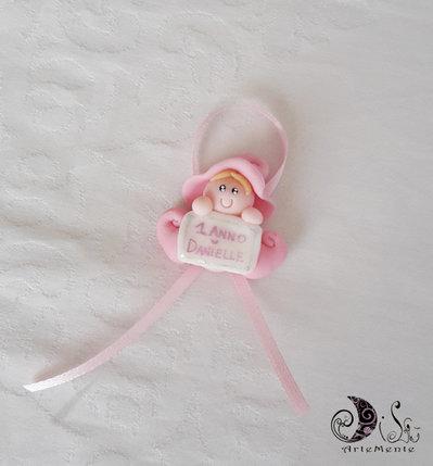 Bomboniere folletto bebè portafortuna bimba per battesimo o compleanno