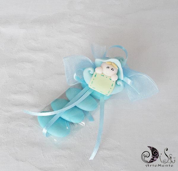 Bomboniera folletto bebè portafortuna bimbo o bimba completa per battesimo o compleanno