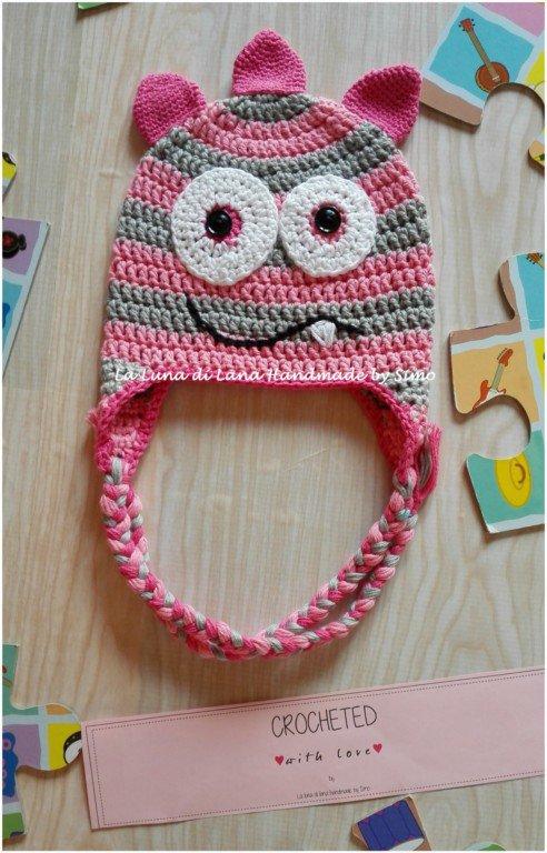 Cappello a uncinetto per bambina a forma di  Mostriciattolo