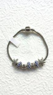 Bracciale in color argento praline blu e ciondoli stelle!