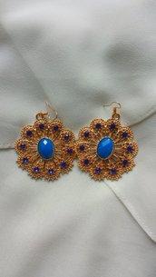 Orecchini oro e blu!