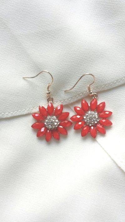orecchini fiore rosso!