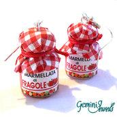Orecchini vasetto di marmellata di Fragole