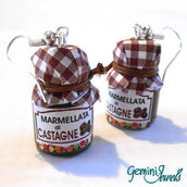 Orecchini vasetto di marmellata di castagne