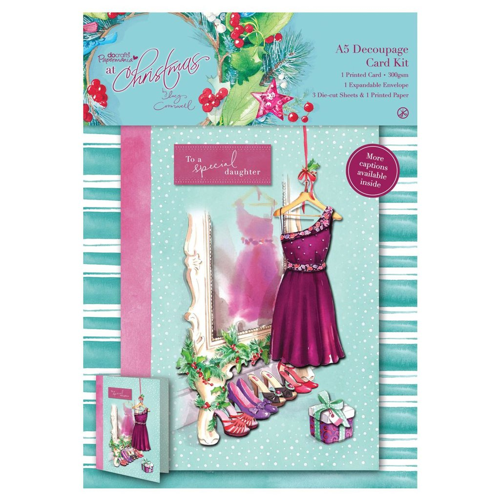 A5 Decoupage Card Kit - At Christmas Lucy Cromwell