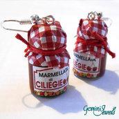 Orecchini vasetto di marmellata di ciliegie