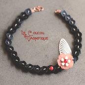 Girocollo stile hippy con fiore vintage rosa pesco - Linea Flower Power - C.32.2015